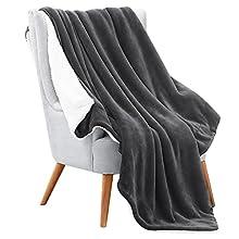 RATEL Manta de Lana de Cordero Gris Oscuro 150x200cm , Manta Reversible de Microfibra para Cama y Sofa-Manta de Forro Polar Gruesa Cálida y Esponjosa, Fácil de cuidar