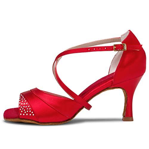 Jia Jia 20522 Damen Sandalen Ausgestelltes Heel Super-Satin mit Strass Latein Tanzschuhe Rot , 41 - 5