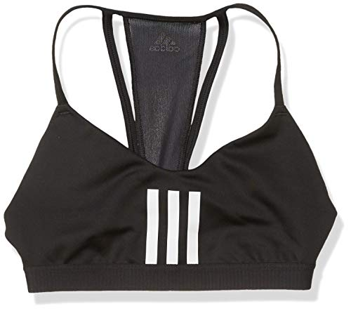 adidas Women's All Me 3-Stripes Mesh AEROREADY Training Pilates Yoga Light Support Workout Bra Black/White Medium
