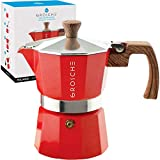 GROSCHE Milano Stovetop Espresso Maker Moka Pot 3 espresso Cup - 5oz, Red - Cuban Coffee Maker Stove top coffee maker Moka Italian espresso greca coffee maker brewer percolator