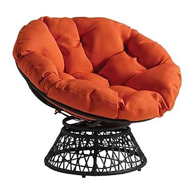 OSP Home Furnishings Wicker Papasan Chair with 360-Degree Swivel, Grey Frame with Orange Cushion