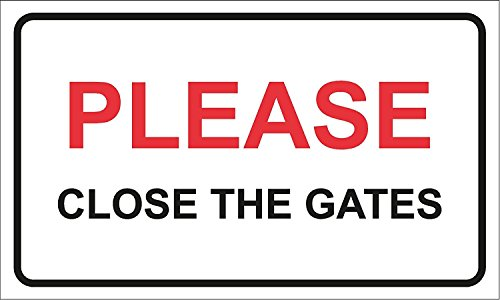 Veuillez Fermer le portail de sécurité maison/maison/jardin Propriété Panneau d'avertissement 200 mm x 110 mm