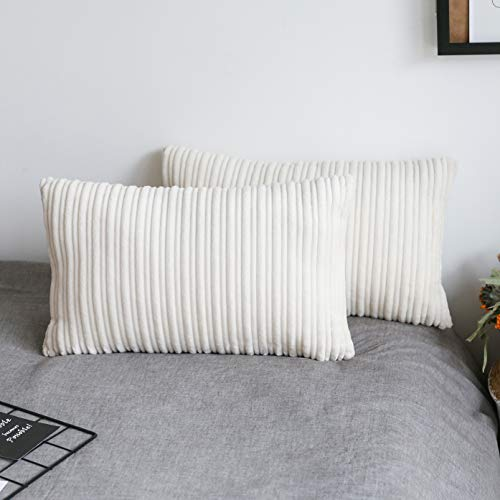 UGASA Velvet Lumbar Throw Pillow Cover, Both Sides Corduroy Striped, Soft Solid Decorative Rectangular Cushion Case for Couch/Bedroom/Car, 1 Pack, 12x20 Inch, Cream