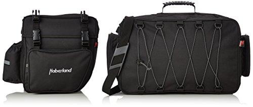 Haberland Fahrradtasche Packtaschenset 2-Teilig Doppeltasche und Topcase Dreifachpacktasche, schwarz, 38 x 33 x 10cm