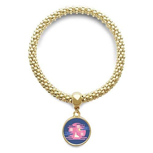 DIYthinker Damen Bunte abstrakte Wolke Laterne Muster Goldene Armband Laufende hängende Schmuckkette