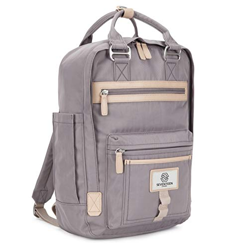 """SEVENTEEN LONDON – Modern Urban Unisex Lilac 'Wimbledon' Backpack in a Classic Slim Simple Design – Fits Laptop up to 13"""""""