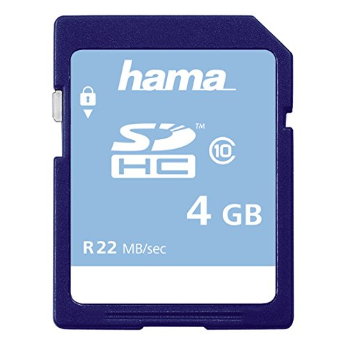 Hama Speicherkarte SDHC 4GB (SD-2.0 Standard, Class 10, High Speed, Datensicherheit dank mechanischem Schreibschutz, Beschriftungsfeld)
