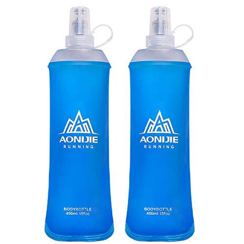 TRIWONDER TPU Botella Soft Flask Bolsa de Hidratación Plegable a Prueba de Fugas Ideal para Mochila de Hidratación para Correr Ciclismo Senderismo (2 * 450ml)