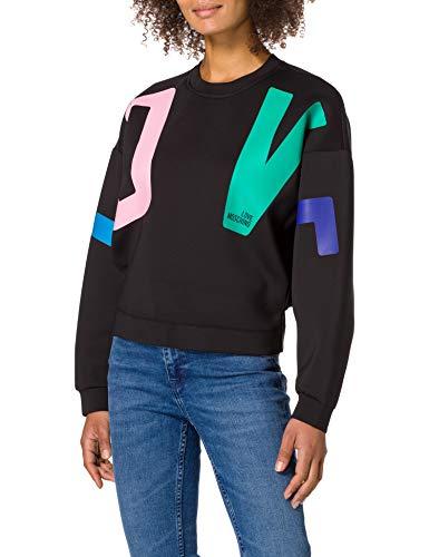 Love Moschino Soft Lightweight Neoprene Crewneck Sweatshirt, with Long Batwing Sleeves Maglia di Tuta, Nero, 44 Donna