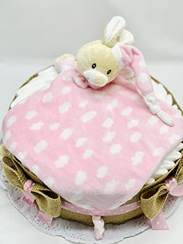 Tarta de pañales DODOT con DouDou para bebé - Regalo original para recién nacido (Rosa)