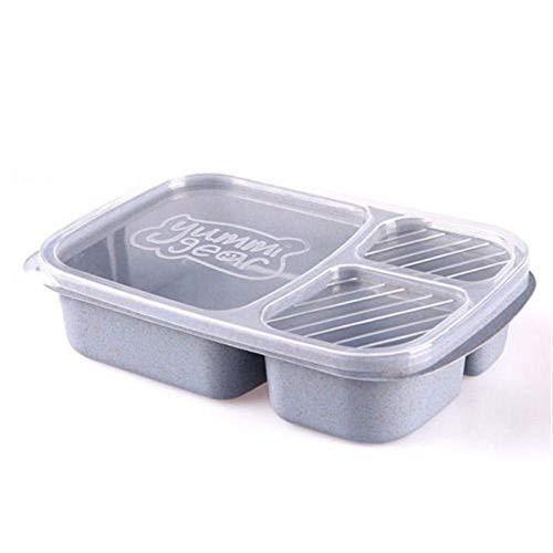 IETONE Trigo Paja de 3 Compartimentos Lonchera conTapa Transparente Cuadrados Apilables Reutilizables Almuerzos Cáscara de Arroz Fiambrera(Azul)