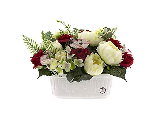 CERÁMICA RAMBLEÑA | Jardinera Cementerio | Jardinera Blanca | Jardinera Exterior | Jardinera Rectangular | Jardinera de cerámica Lápidas Funerarias | Mediana | 22x9x7 cm