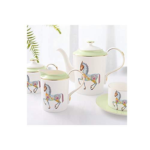 15-Piece European Bone China Coffee Set Tea Set, Ceramic Afternoon Tea Set Flower Tea Set Coffee Cup Set, Household, Gift, Tea Sets-Green