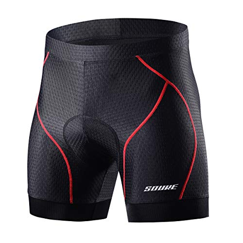 Souke Sports Men's Cycling Underwear Shorts 4D Padded Bike Bicycle MTB Liner Shorts with Anti-Slip Leg Grips( Red, Medium)