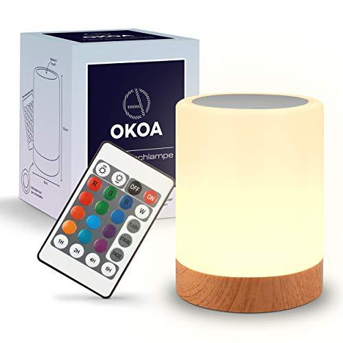 OKOA – Premium Nachttischlampe touch dimmbar [13 Farben & 3 Helligkeiten] – Mit Fernbedienung – Warm weißes Licht [3000K] – Farbwechsel LED Nachtlicht Schlafzimmer, Kinderzimmer & Wohnzimmer