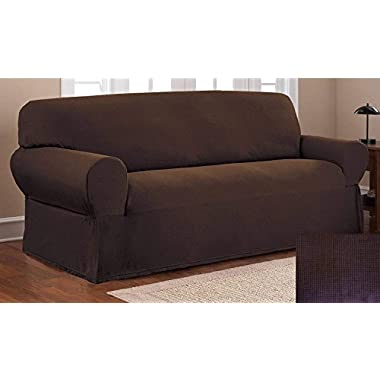 Fancy Collection Sure Fit Stretch Fabric Sofa Slipcover 3 Pc Sofa And Love Seat and chair Covers Solid Brown/Coffee New #Stella
