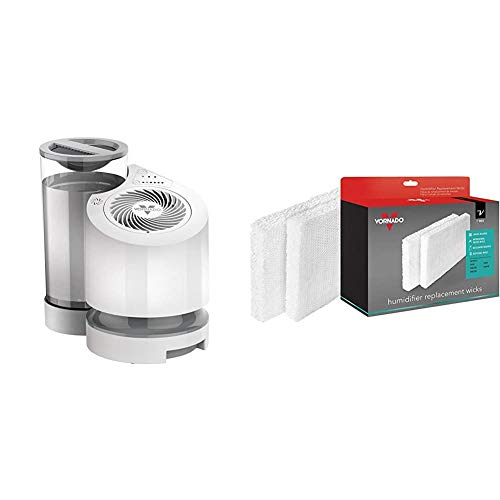Vornado EV100 Evaporative Whole Room Humidifier with SimpleTank, 1 Gallon Capacity, White & MD1-0034 Replacement Humidifier Wick (2-Pack)
