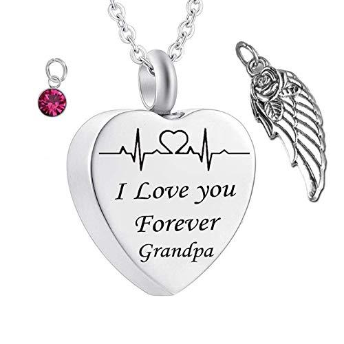 Daesar Colgante Cenizas Cremacion Corazón con ala de Ángel Piedra del Zodíaco y ECG Grabado I Love You Forever Grandpa Octubre Rosa Roja