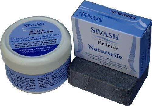 Natürliches Behandlungsset gegen Akne, Pickel, unreine Haut: SIVASH-Heilerde als Gesichtsmaske (Schlamm-Maske), 250g + Handgemachte Naturseife mit 25% Heilerdegehalt (Schlammseife), 100g