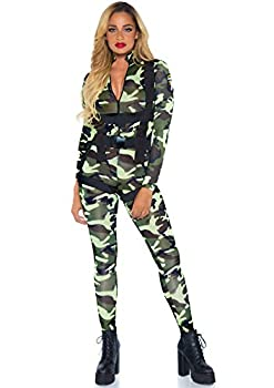 Leg Avenue 2 Piece Pretty Paratrooper Camp Jumpsuit-Sexy Soldier Costume Bodysuit and Harness for Women Camo Small