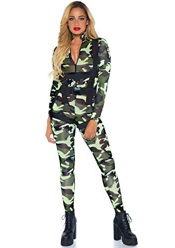 Leg Avenue 85166 - 2Tl. Kostüm Set Hübsche Fallschirmspringer, Größe M, grün, Damen Karneval Kostüm Fasching