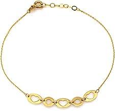 Een ovale armband van 585 14 karaat goud met uitgesneden gouden hartjes