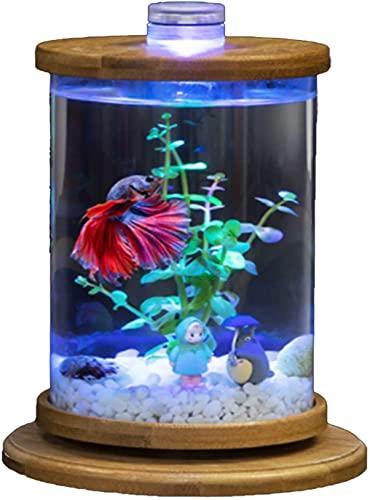 AY Mini serbatoio di pesce auto-pulizia Desktop Ecologia Aquarium LED Colorful Illuminazione Cubo A Forma di Acquario Acquario Kit con comodo cambio d acqua, fai da te crativo rotante serbatoio di pes