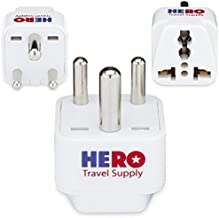Premium US to India Power Adapter Plug (Type D, 3 Pack) - Individually Tested in The USA by Hero Travel Supply - Includes 2 Free India Ebooks & Cotton Carry Bag - Grounded, White