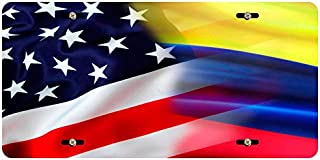 BleuReign(TM Mixed USA and Colombia Flag Car Vehicle License Plate Auto Tag