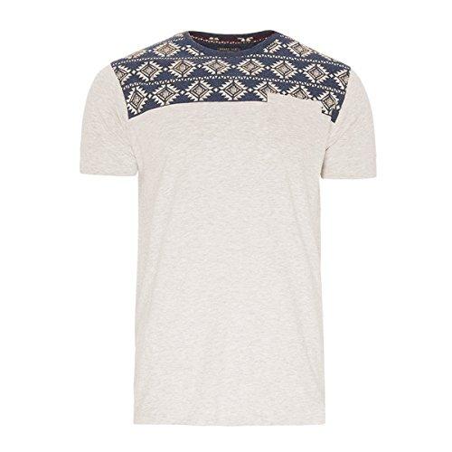 Brave Soul Herren T-Shirt Neutral Weiß Grau Navy-Blau mit Brust Muster Brust-Tasche Davon (Grau, M)