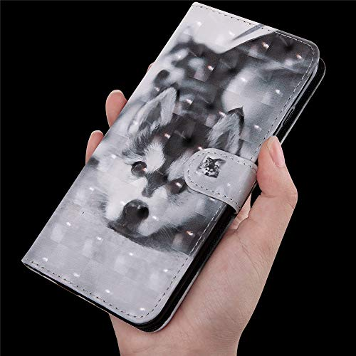 DodoBuy 3D Hülle für Huawei Y6 2019/Honor 8A, Flip PU Leder Schutzhülle Handy Tasche Brieftasche Wallet Case Cover Ständer mit Kartenfächer Trageschlaufe Magnetverschluss - Hund