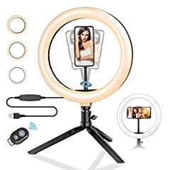 "【10.2"" LED Ring Light with Stand】-- Compare to other ring lights, BW-SL3 10.2"" ring light with 120pcs bulbs is much bigger and powerful, getting you an outstanding look when doing makeup, live streaming, youtube video, vlog, selfie and video chat, et..."