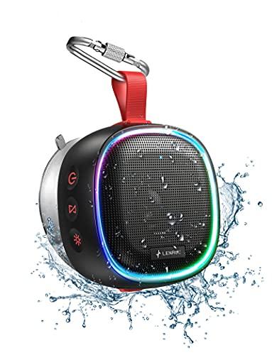【RGBスピーカー】LENRUE 小型 Bluetooth スピーカー ワイヤレス IPX7防水お風呂スピーカー RBG ライト/防塵/Bluetooth 5.0 / マイク付/Mini/軽量/吸盤付き/フック付き/真のワイヤレスステレオ