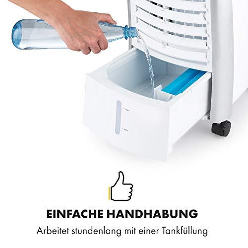 Klarstein Maxfresh WH Luftkühler-Ventilator-Kombination mit drei Leistungsstufen • niedriger Energieverbrauch • Bodenrollen • Lammellen-Schwenkfunktion • inkl. Fernbedienung und zwei Eis-Packs • weiß - 7