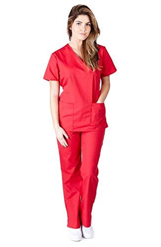 Natural Uniforms Women's Mock Wrap Scrub Set (Red) (Large)