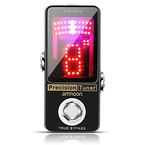 Fesjoy Tuner, Precision Chromatic Tuner Pedal Large LED Display Full Metal Shell with True Bypass for Guitar Bass
