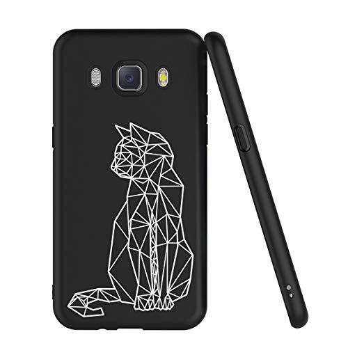 Zhuofan Plus Coque pour Samsung Galaxy J5 2016, Etui en Silicone TPU Souple [Ultra Fin] avec Motif Créatif Housse de 360 Bumper Protection Case Cover pour Samsung Galaxy J5 2016 5,2 Pouces, Chat