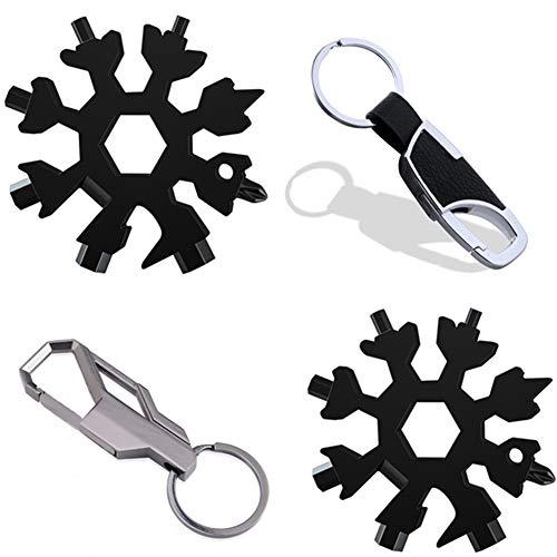 18 1 Multitool Set,flaschenoffn schlusselanhang Set,Multitool Fahrrad Set,Werkzeug Schneeflocke 4er Set. (Schwarz farb)