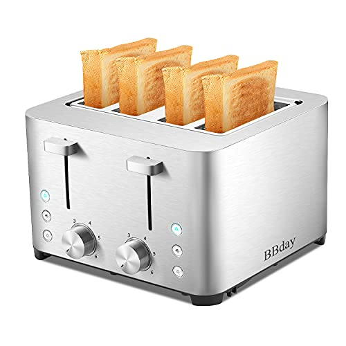 BBday 4 Slice Toasters, 4 Extra Wide Slot Stainless Steel Toaster,with 6 Bread Shade Settings, Defrost,Bagel and Cancel Function, Removable Crumb Tray, 1500W