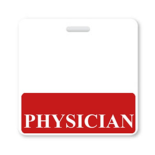 Physician Badge Buddy - Heavy Duty Horizontal Badge Buddies for Physicians - Spill & Tear Proof Cards - 2 Sided USA Printed Quick Role Identifier ID Tag Backer by Specialist ID Specialist ID
