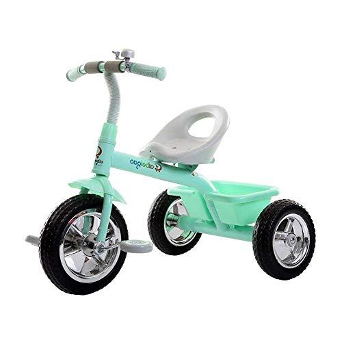 WLD Trike Trainingsfiets, driewieler, kinderwagen, kinderwagen, S-driewieler, kinderfiets, binnen en buiten, draagbare driewieler, met bel, 5 kleuren opties groen