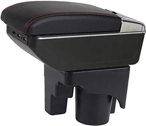 QWEAS Caja de reposabrazos, Almacenamiento de Consolas giratorias con cenicero portavasos para Jetta Mk5 2006-2011, Vento Wagon 2009 2010, Golf 6 Mk6 2008-2013