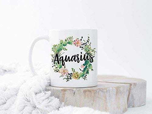 Keyboard cover Taza de café acuario, signo del zodiaco, Acuario, signo del zodiaco, Acuario, Regalo de 250 ml, cerámica blanca