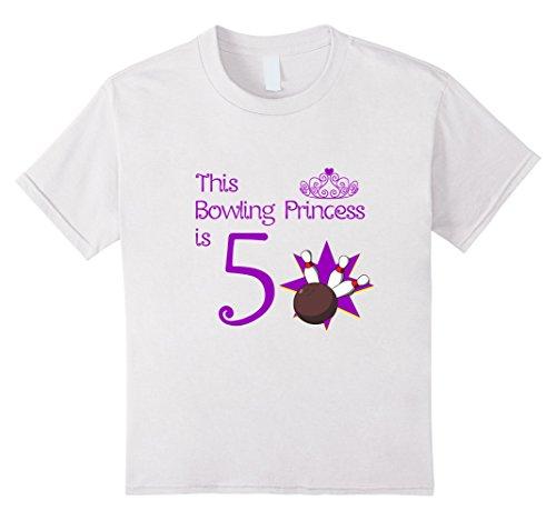 Kids 5 Year Old Bowling Birthday Party 5th Girls Birthday T-Shirt 6 White