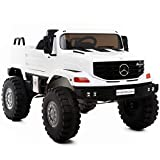 Aosom 12V Mercedes-Benz Zetros Kids Ride On Car Off Road Truck with Remote Control - White