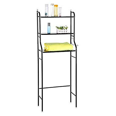 Greensen 3-Tier Bathroom Shelf Space Saver, Toilet Towel Storage Holder Over Bathroom Shelf Organizer (Black)