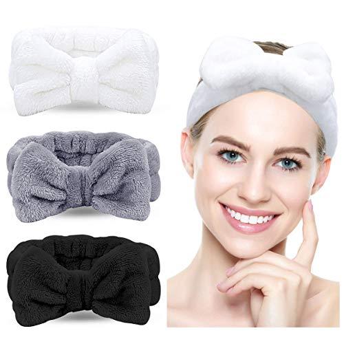 Bowknot Haarband für Make up - 3 Stück Kosmetische Stirnbänder Korallen Samt Elastisches Haarband zum Waschen Spa Yoga Beauty Gesichtspflege Make-up für Damen