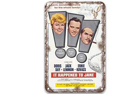 sfasf It Happened to Jane (1959), carteles de metal de la lata de las películas de la vendimia, grupo de arte para fiestas, oficina, cocina, decoración del hogar, pared de 20 x 30 cm