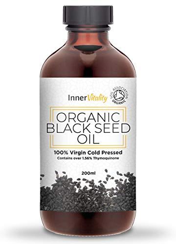 Organische Zwarte Zaad Olie Koud Geperst - 200ml Hoge Thymoquenine Pure Virgin Olie Supplement in een Glazen Fles door Inner Vitality