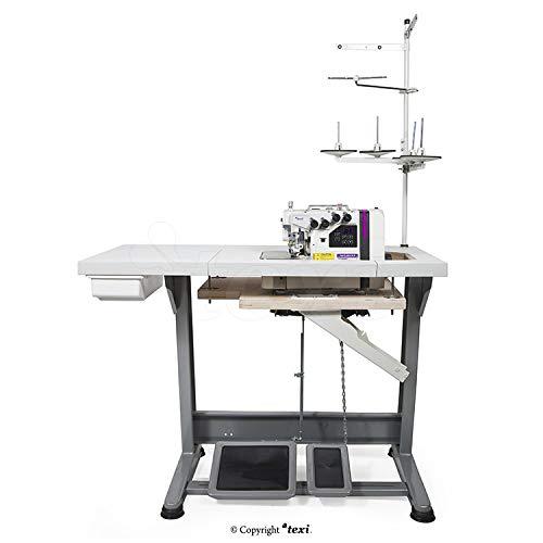 TEXI Overlock - Máquina de coser industrial, 5 hilos/2 agujas, máquina de coser industrial, completa (con mesa y soporte)
